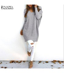 zanzea mujeres plus size túnica top blusa pullover jumper club party sweater dress -gris