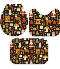 jogo tapetes para banheiro elementos natalinos ãšnico love decor - multicolorido - dafiti