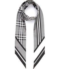 monogram icon stripe checker accent skinny silk scarf