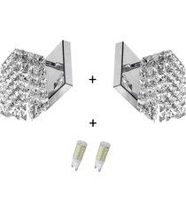 2 x arandela de cristal legitimo clearwall com lã¢mpadas 3000 - prata - dafiti