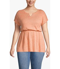 lane bryant women's textured notch-neck tunic 26/28 amberglow