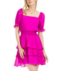 leyden square-neck tiered fit & flare dress