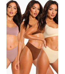 3 pack seamfree scoop bralette, multi