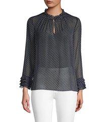 crinkle chiffon printed blouse