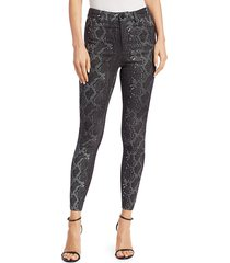 alice + olivia mikah high-rise snakeskin-print leather pants - black metallic - size 0
