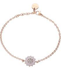 bracciale in acciaio rosato con fiore rosa e strass per donna