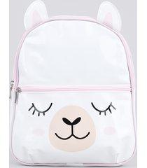 mochila infantil lhama em verniz com bolso branca