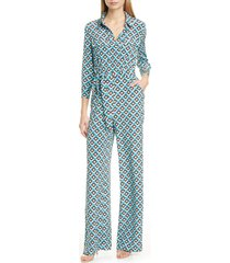 women's dvf sandy print silk jumpsuit