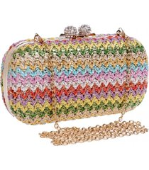 bolsa clutch liage festa pedra cristal strass detalhe tricot colorida metalizada alça removivel metal dourada verde rosa vermelho azul  - kanui