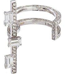 'disruptive' emerald cut diamond 18k white gold bar open ring