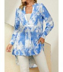 camicetta a maniche lunghe con scollo a v e stampa tie-dye da donna