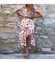 zanzea vestido floral de verano para mujer fiesta en la playa cóctel vacaciones tallas grandes vestido de verano -blanco