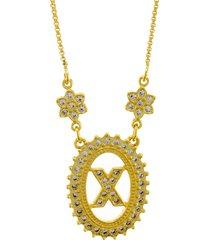 colar horus import letra x zircônias dourado