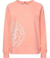 jersey de cuello redondo con logo rosa tommy hilfiger