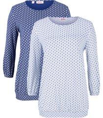 maglia fantasia con maniche a 3/4 (pacco da 2) (bianco) - john baner jeanswear
