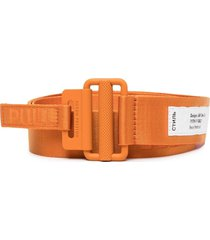 heron preston logo-patch buckled belt - orange