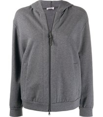 brunello cucinelli relaxed-fit zip-up hoodie - grey