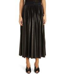 women's givenchy logo waist pleated midi skirt, size 6 us - black