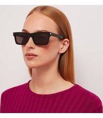 saint laurent women's betty rectangluar acetate sunglasses - black