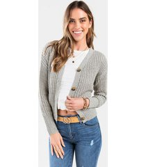 elisa button front cropped cardigan - olive