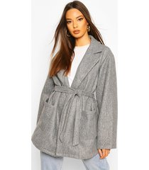 oversized slouchy wool look belted coat, grey