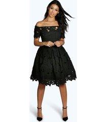 boutique kanten off shoulder skater jurk, zwart