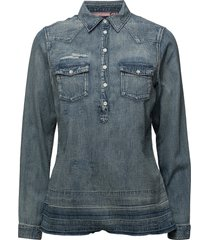 denim blouse with over-dye overhemd met lange mouwen blauw scotch & soda