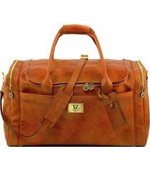 tuscany leather tl141281 tl voyager - borsone viaggio in pelle con tasche laterali - misura grande miele
