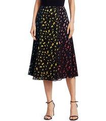 janessa multicolor jacquard a-line midi skirt