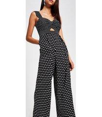river island womens forever unique black polka dot jumpsuit