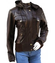 womens bomber fashion hooded jacket, women leather hoodies