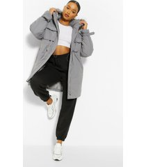 oversized parka jas met faux fur zoom, grey
