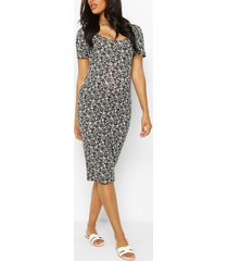 maternity ditsy floral bodycon dress, white