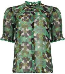 blouse met bloemenprint havanna  groen