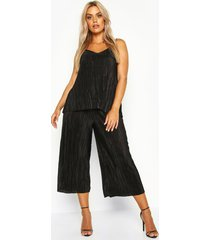 plus plissé swing hemdje en culottes set, zwart