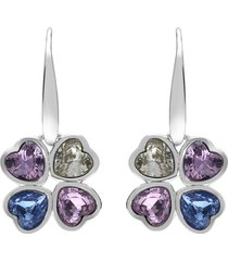 orecchini a monachella in metallo rodiato e pietre con charm quadrifoglio con cuori per donna