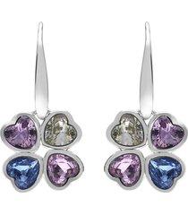 orecchini a monachella quadrifoglio in metallo rodiato con pietre a cuore per donna