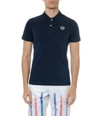sergio tacchini navy cotton logo polo shirt