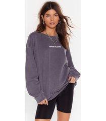 womens bitch please oversized graphic sweatshirt - charcoal