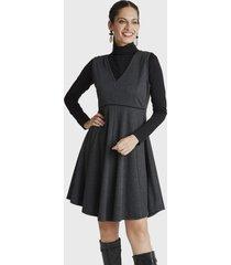 vestido sin mangas con cuello v gris lorenzo di pontti