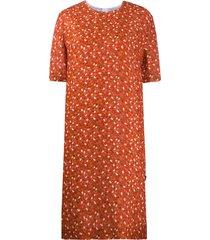 marni floral print straight-fit dress - orange