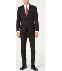 kenneth cole reaction men's slim-fit ready flex stretch charcoal graph plaid suit