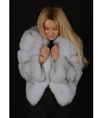 nature white finland blue fox fur jacket winter coat luxury fur outwear wedding