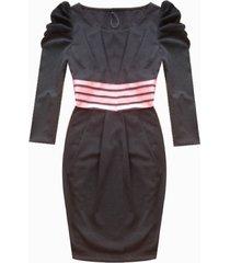 vestido casual manga 3/4 sarab-negro
