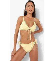 korte bikini top met geplooide zoom en strik, lemon