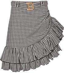balmain ruffled detail skirt