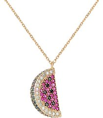 watermelon green, black, white & ruby crystal pendant necklace