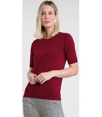 blusa feminina em tricô manga curta decote redondo vinho