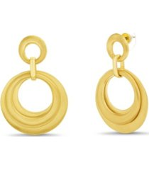 catherine malandrino drop multi layered hoop earring in yellow gold-tone alloy