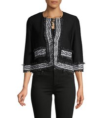 haxby embroidery fringe crop jacket